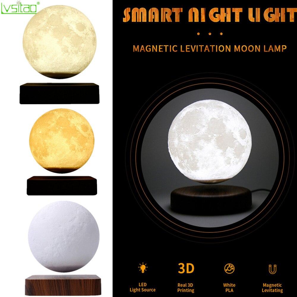 3d levitação magnética lua lâmpada luz da noite 15cm rotativa sem fio led lua luz flutuante lâmpada novidade presentes casa decorações