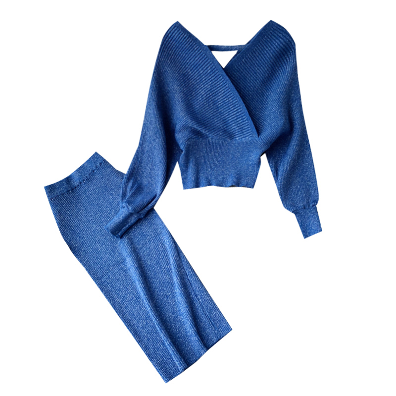 Women's High Waist Bright Silk Knit Bag Hip Skirt Two-piece Fashion V-neck Sweater Bat Sleeve  Two-piece Women's Sets GD123
