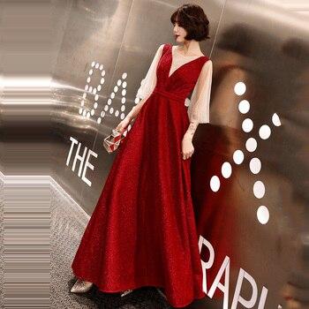 Skyyue Patchwork Burgundy Evening Dresses FR308 Sparkling Crystal Vestidos O-Neck Party Gowns Half Sleeve A-Line Long Dress