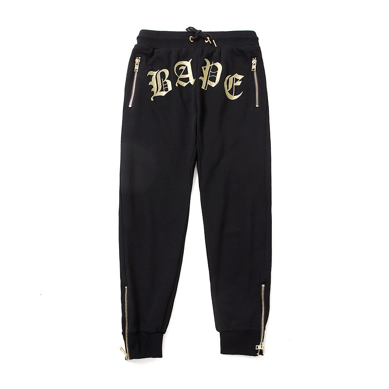2018 Japanese-style Popular Brand Embroidered Head Zipper New Style Beam Leg Trousers Men And Women Teenager Casual Large Size S