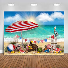 Summer Photography Backdrop Newborn Background Beach holiday scenery  Banner Decorations Photo Booth Studio nostalgic style flax cloth photography background accessories for fruit food tabletop shooting studio photo backdrop decorations