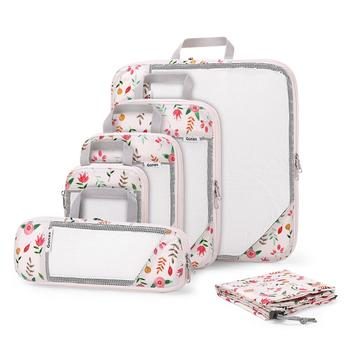 Gonex 6pcs Travel Compression Packing Cubes Set Water Repellent Polyester Flower Printed Travel Clothes Organizers Luggage Bags