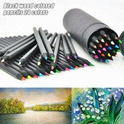 24 kolory Oil Art ołówki do rysowania szkicowanie artysta kolor prezent dla dzieci dzieci VH99
