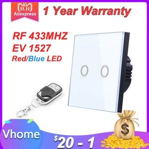 Image 1 - EU 標準 VHOME スマートタッチスイッチ 2 ギャング 1 ウェイ、ホワイトクリスタルガラススイッチパネルセンサーワイヤレス RF433Mhz リモート