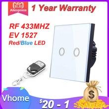 Interruptor táctil inteligente VHOME estándar de la UE 2 Gang 1 Way, Interruptor de Sensor de panel de interruptor de cristal blanco con control remoto inalámbrico RF433Mhz