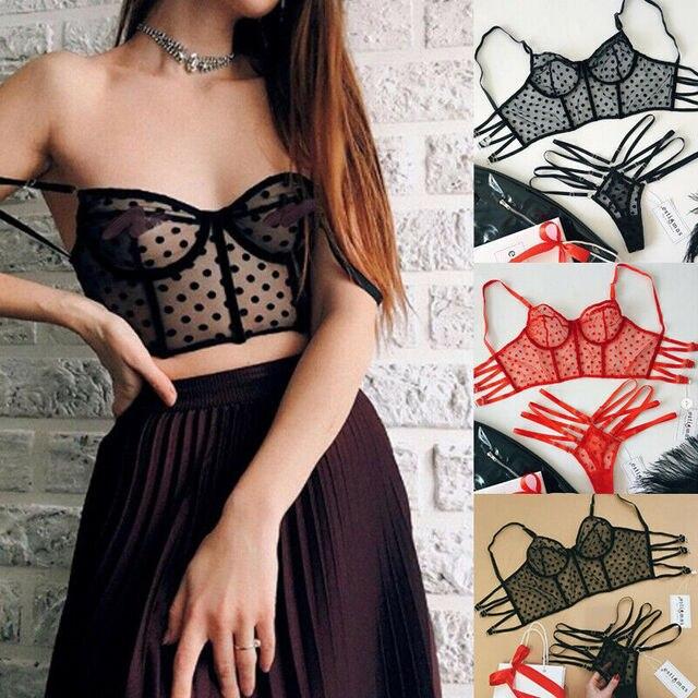 2020 femmes Sexy Lingerie dentelle nuisette sous-vêtements en string noir rouge dentelle point Bralette Bralet soutien-gorge Bustier haut court ensemble de soutien-gorge