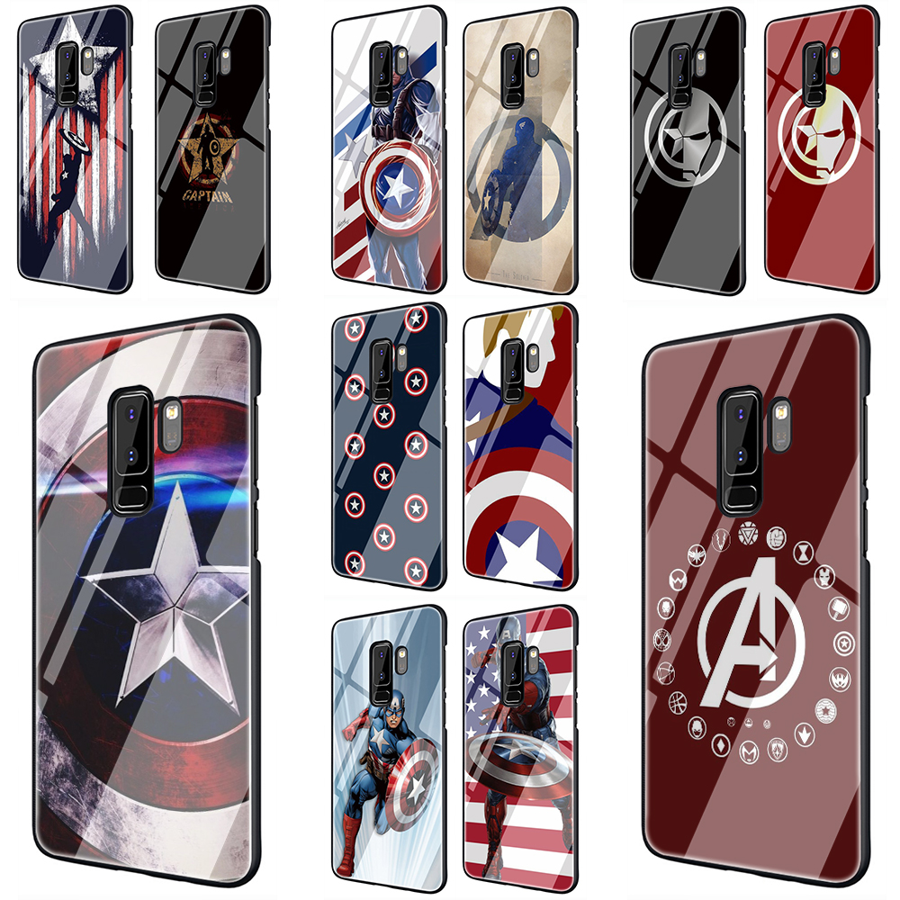 <font><b>Marvel</b></font> superhero Captain America Tempered Glass <font><b>Phone</b></font> Cover <font><b>Case</b></font> for Samsung Galaxy S7 edge S8 9 10 Note 8 9 10 Plus A10 20 30 40 50 60 70 image