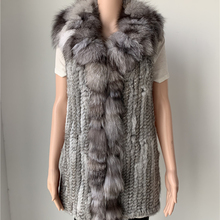 sales clearance  real rabbit fur vest  fox fur collar C008