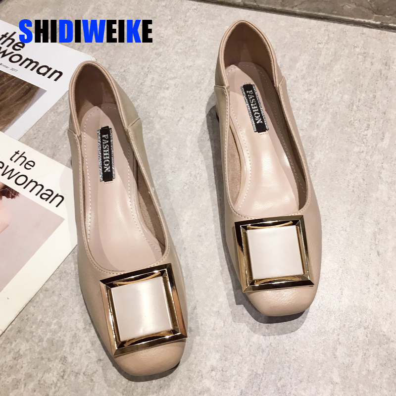 Women Flats Shoes Low Wooden Low Heel Ballet Square Toe Shallow Buckle Brand Shoes Slip On Loafers zapatos de mujer I181