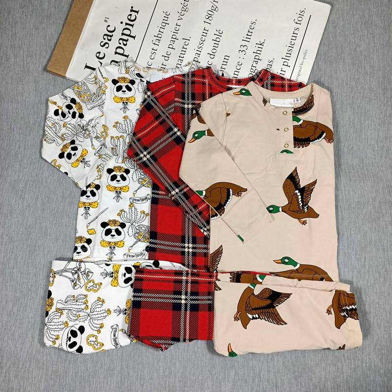 BOBOZONE PANDA DUCK PLAID Long sleeve T-SHIRT and leggings for kids boys girls autumn winter 1