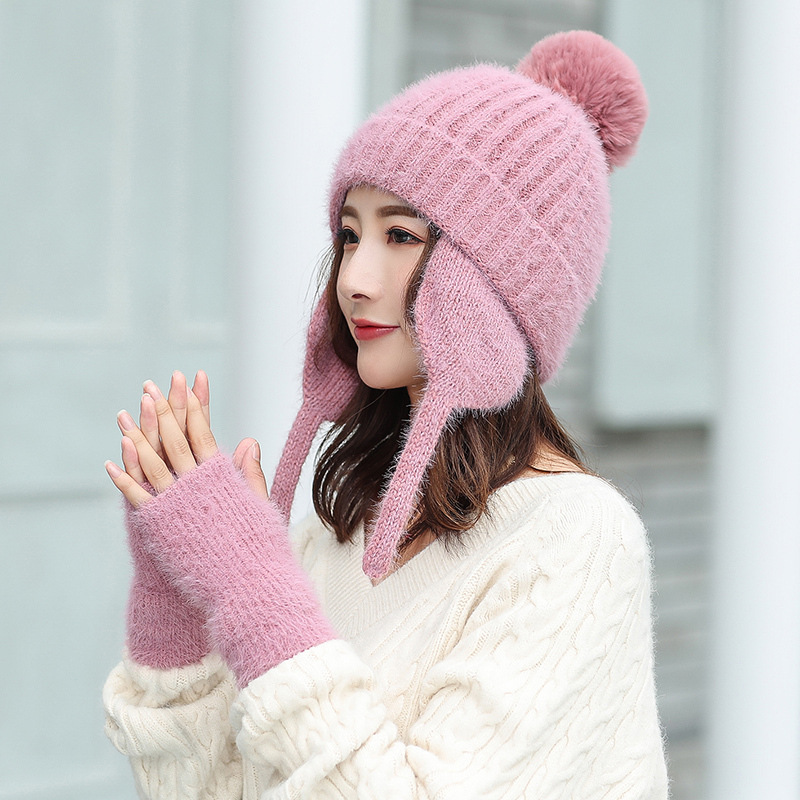 Women Fur Hat Winter Hat And Glove Set Thick Wool Kitted PomPoms Ball Hats Bonnet Beanie Caps Winter Warm Solid Color