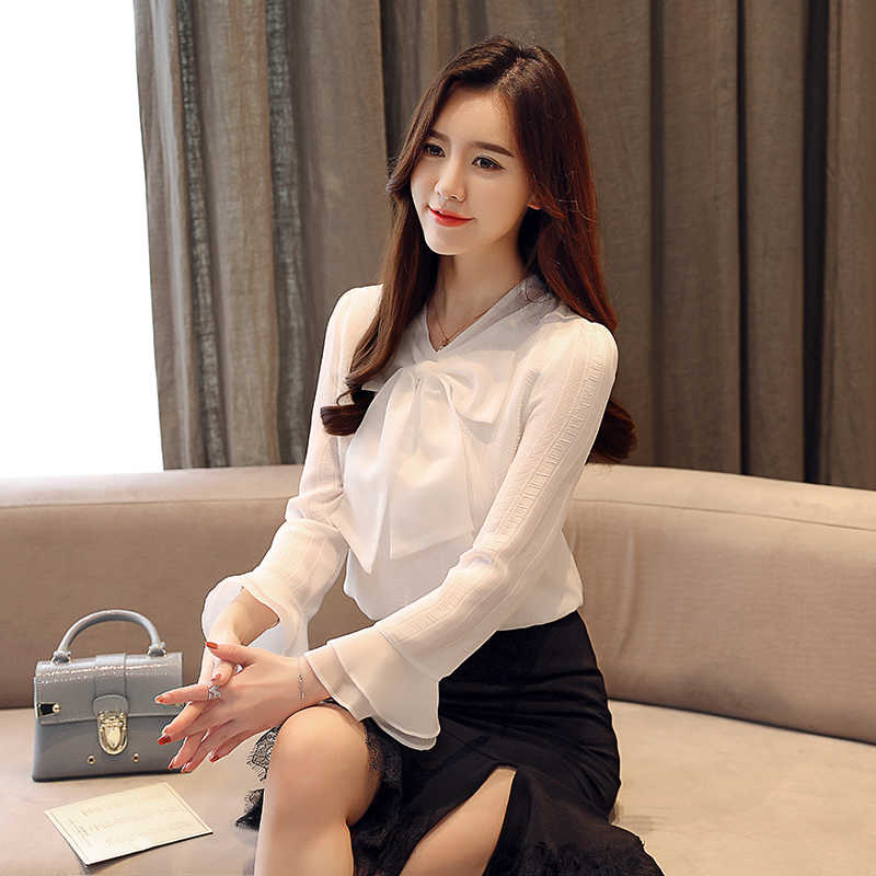 Automne mode coréenne en mousseline de soie femmes Blouses arc blanc femmes chemises de grande taille XXL Blusas Femininas Elegante dames hauts