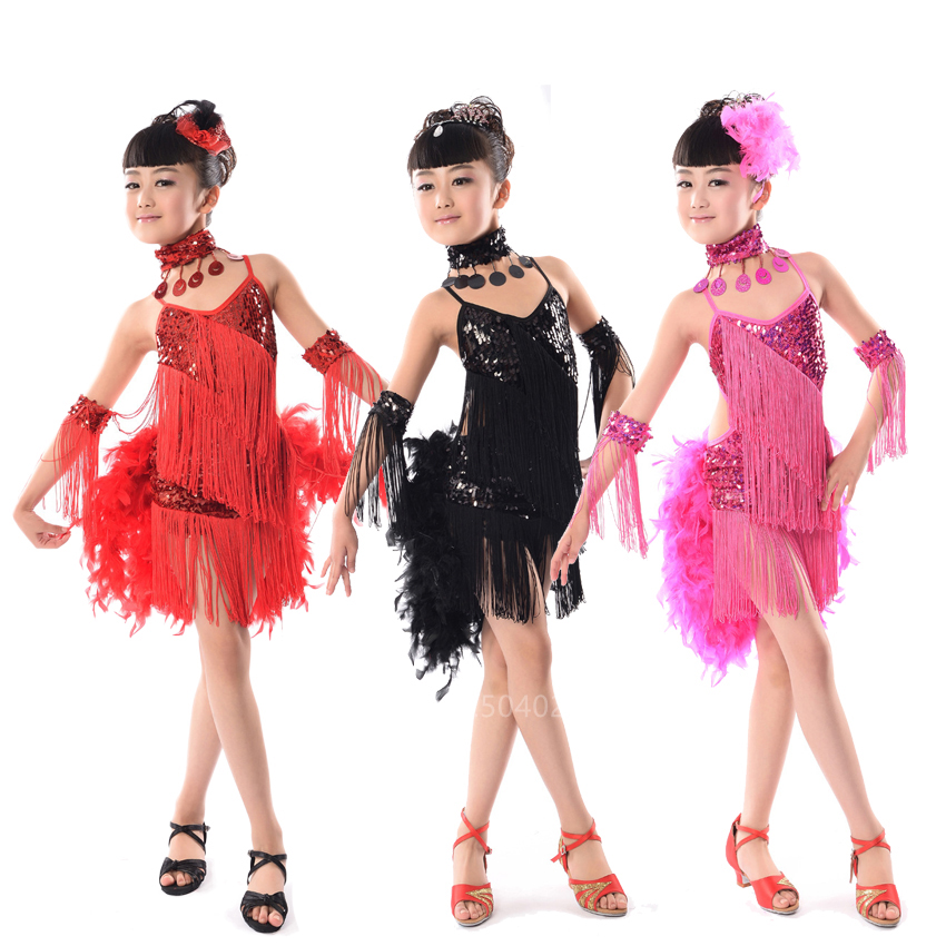 Kids Latin Tangoo Dancer Tassel Sequin Fur Backless Dress For Baby Girl Stage Performance Ballroom Dance Competition Dresses