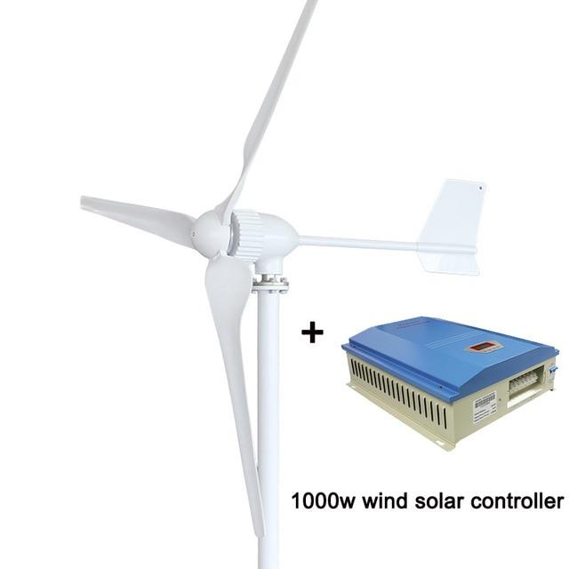 1000w 1KW Wind Turbine Generator Three Blades, 24V/48V Optional Wind Generator with 1000Wwind controller or Hybrid Controller