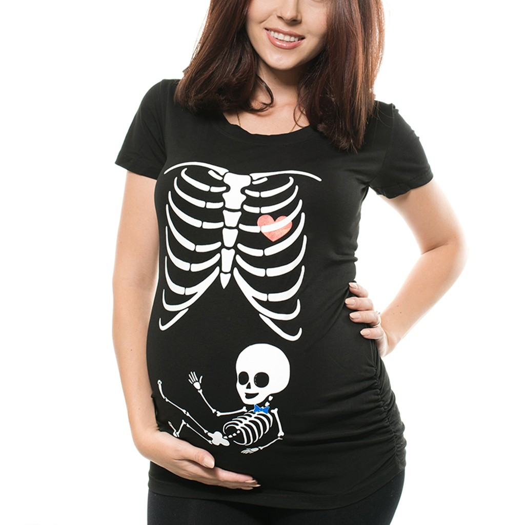 Women Maternity Short Sleeve Skeleton Print Tops T-shirt Pregnant Casual Clothes Children's Chiffon Shirt Children's Shirt 's