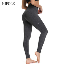 HIFOLK High Waist Sports Leggings with Pocket for Women Fashion New Female Workout Stretch Pants Skinny Fitness