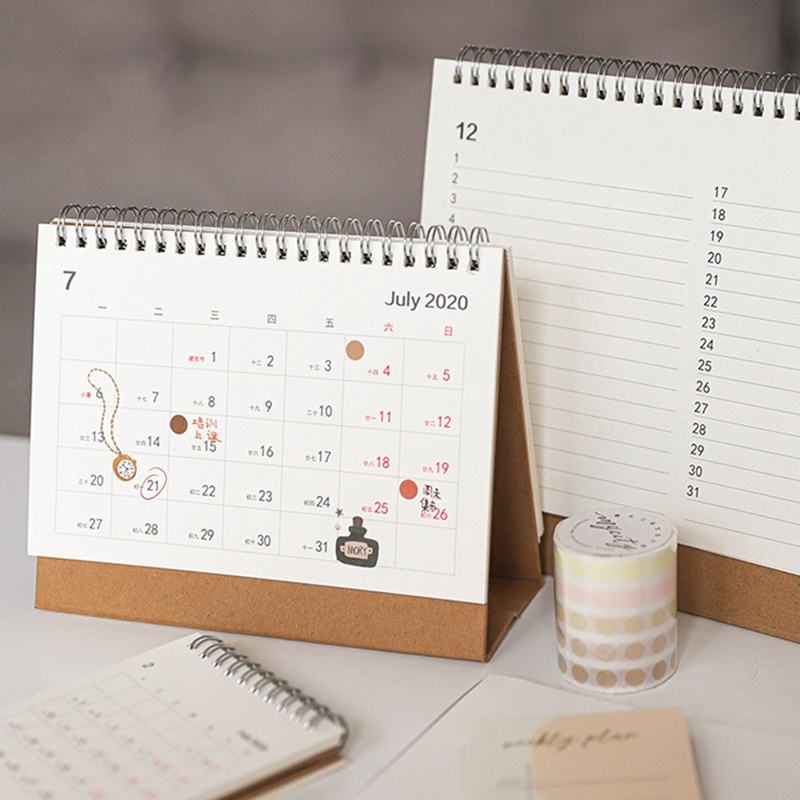 2020 NEW Cute Small Size Solid Color Kfaft Calendar Coil Schedule Creative Kawaii Desk Table Dates Reminder Timetable Planner