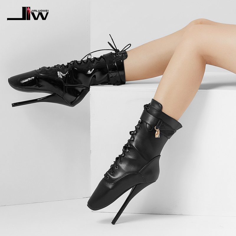 7″ Spike High Heel BALLET Black lace up Mid-calf Boots  Fetish ballet boots plus size more colors