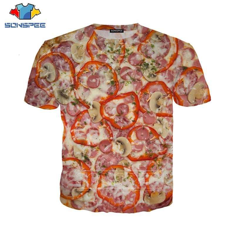 พิซซ่า T เสื้อฤดูร้อนใหม่ผู้ชายเสื้อยืดผู้หญิงเบคอน 3D เสื้อกันหนาว 3D พิมพ์ Unisex แขนสั้น Hip Hop O คอ tops Pullover C024