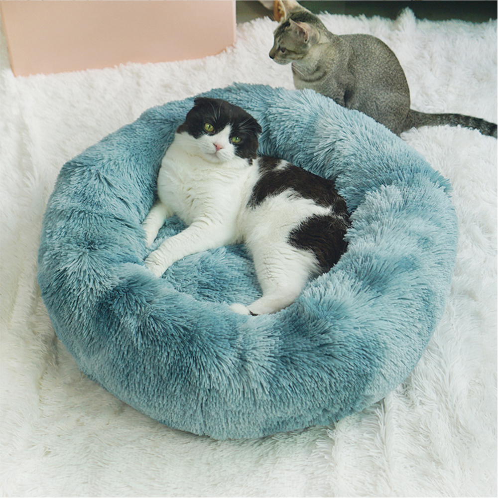 Long Plush Super Soft Dog Bed Pet Kennel Round Sleeping Bag Lounger Cat House Winter Warm Sofa Basket For Small Medium Large Dog