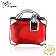 JewelryPalace 925 Sterling Silver Red Enamel Hand Bag Charm Beads Fit Bracelets For Women As Beautiful Gifts New Hot Sale