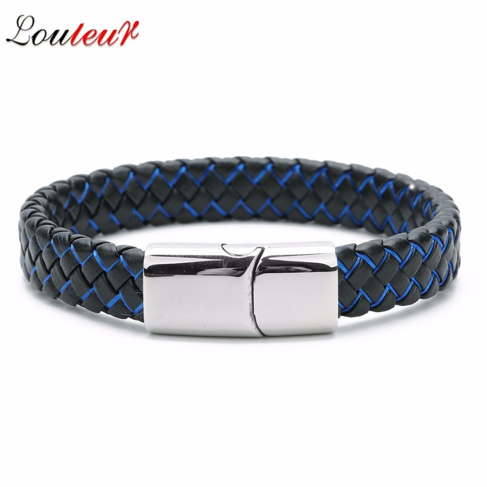 Braided 100% Genuine Leather Bracelet for Men Stainless Steel Magnetic Clasp Wide Bangles 2019 New Punk Jewelry Black Blue Wide