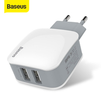 Baseus Dual USB Charger 5V 2.4A For iPhone Samsung Xiaomi Fast USB Charger Portable Travel Adapter Wall Charger|Mobile Phone Chargers| |  -
