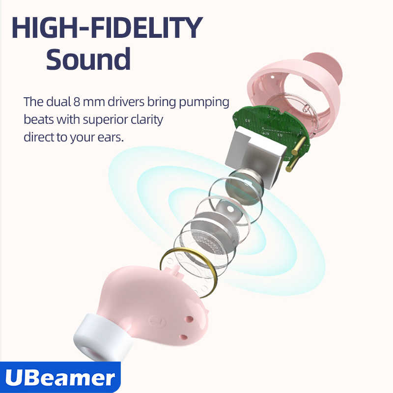 Ubeamer Tws Headphone Mini Earbud True Headset Nirkabel Bluetooth Earphone dengan Mikrofon Charge Kotak untuk Olahraga, Permainan, To Outwit
