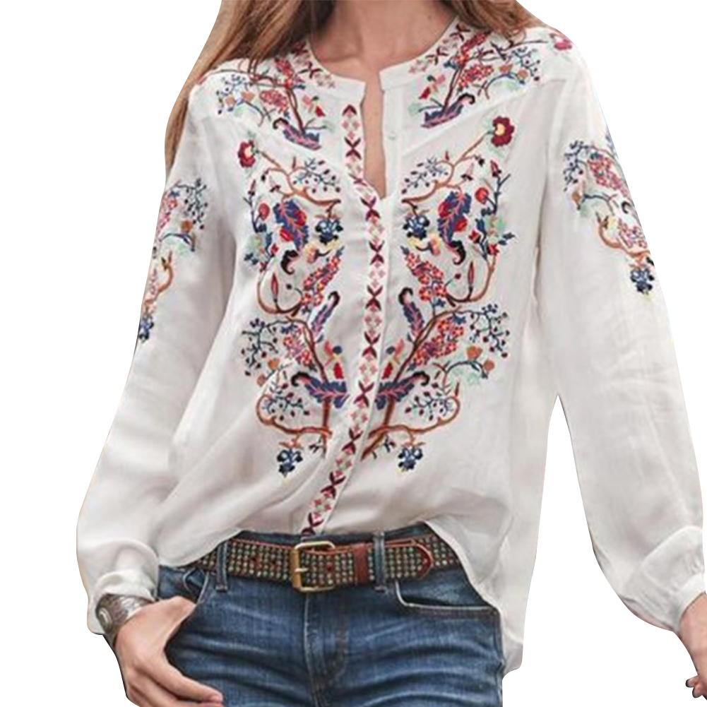 Этнические, праздничные топы с вырезом лодочкой, Повседневная Свободная Женская блузка с рукавом-фонариком, женская блузка из полиэстера с принтом, модная летняя женская блузка - Цвет: Белый