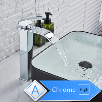 Rozin Waterfall Bathroom Sink Faucet Deck Mount Hot Cold Water Basin Mixer Taps Polished Chrome Lavatory Sink Tap 9