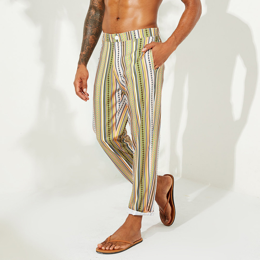 Mens Casual Slim National Style Striped Zipper Straight Trousers Joggers Plus Size Streetwear Pantalones Hombre M-3XL Autumn