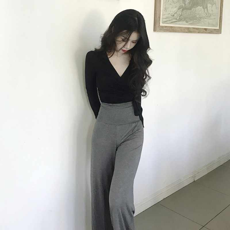 Camisetas sexis delgadas con cuello en V para mujer, camisetas cortas con nudos cruzados, moda Casual, camisetas de manga larga sólidas