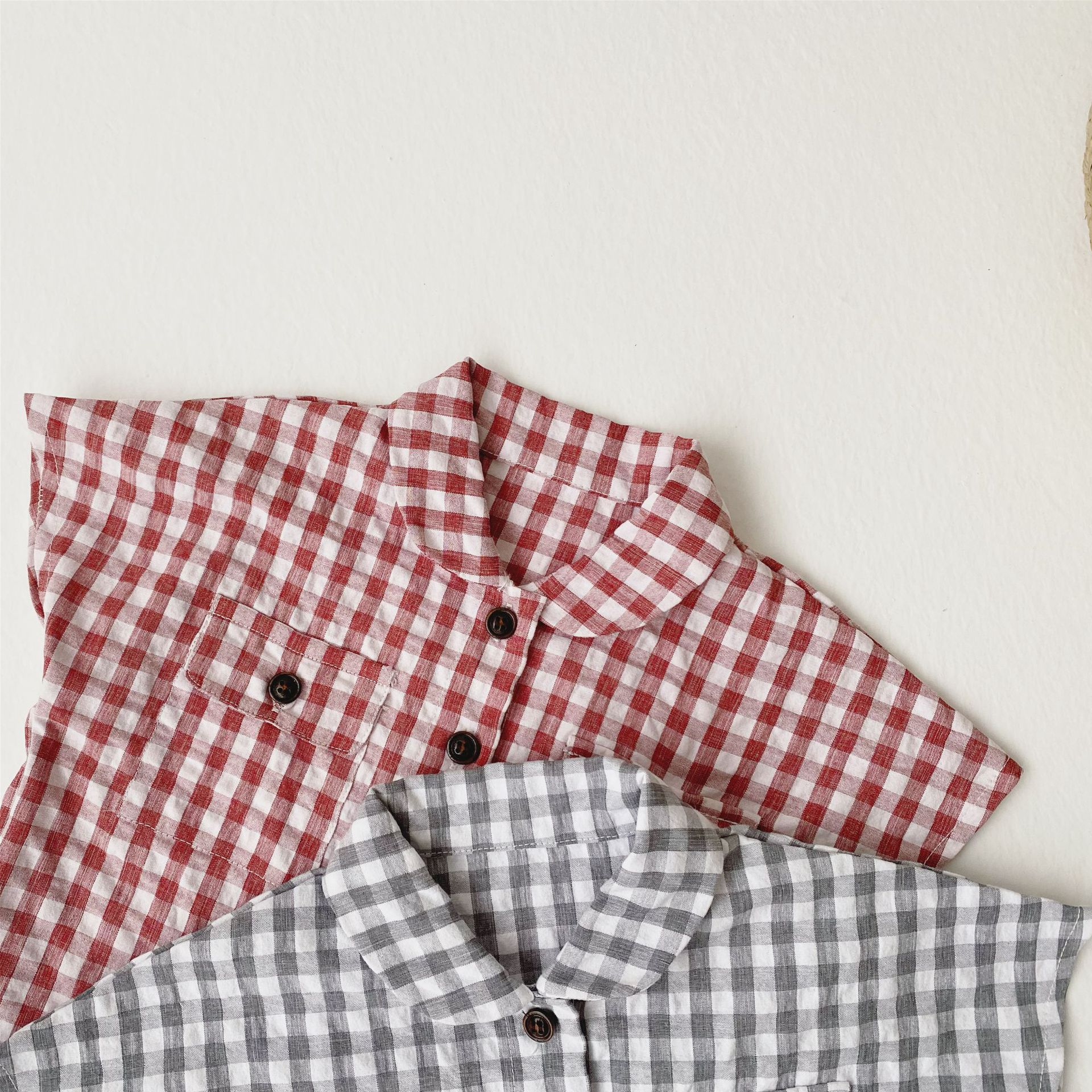 MILANCEL baby clothing set summer baby boys clothes plaid tee and pumpkin short baby boys outfit