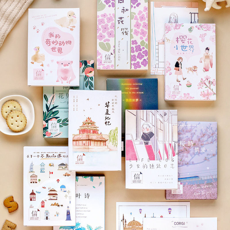 30pcs/1lot Cute  Sun And Flower Raft Greeting Cards Postcards Birthday Letter Business Gift Card Set Message Card