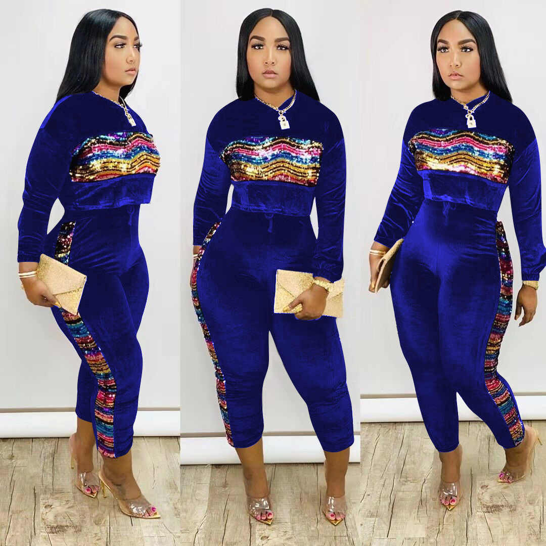 Sequined Jogger Set Plus Size Womens Sweat Suits Ladies Tracksuits Women Pants Set Two Piece Long Sleeve Tops Long Pants Sequin Women S Sets Aliexpress