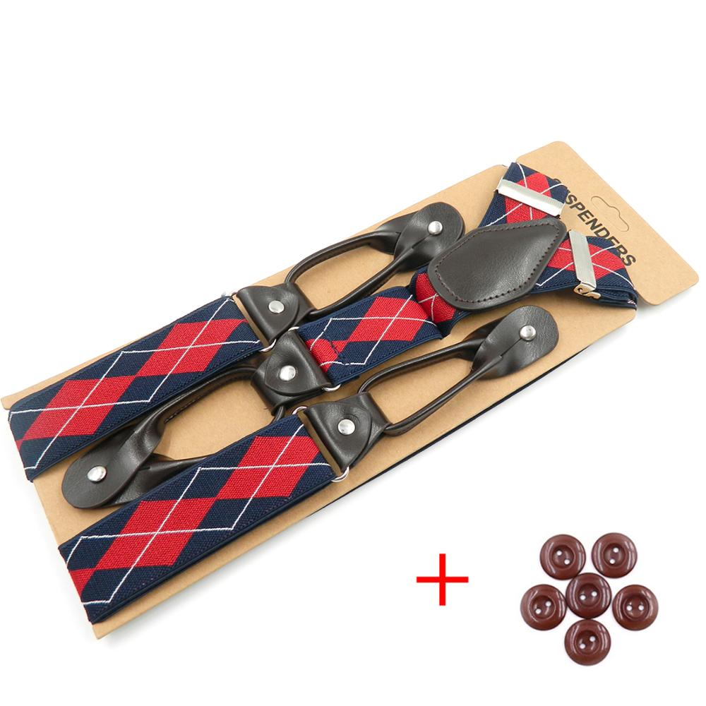 Mens Braces Suspenders Harness Y-Back PU Leather Trimmed Button End Adjustable Elastic Tuxedo Suspenders For Men Casual Formal