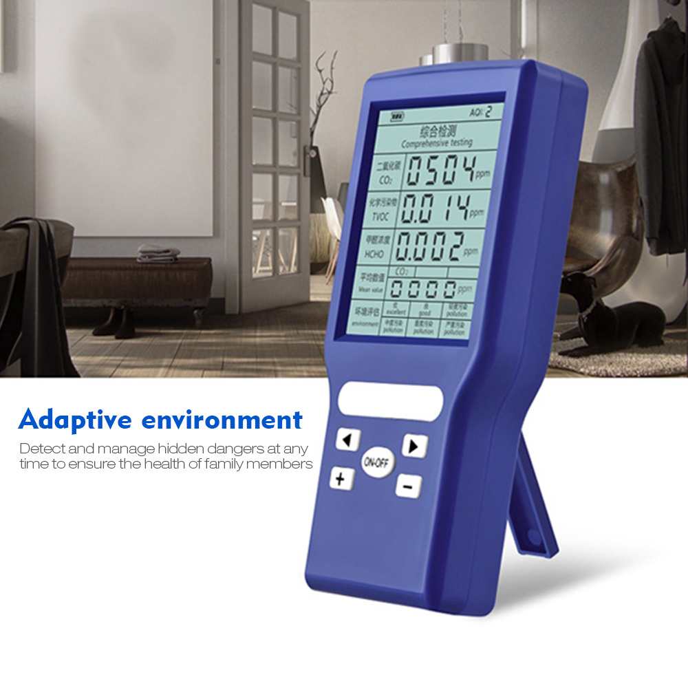 Air Dector Co2 формальдегид HCHO TVOC качество воздуха в помещении ppm метр ЖК-дисплей цифровой дисплей высокая точность