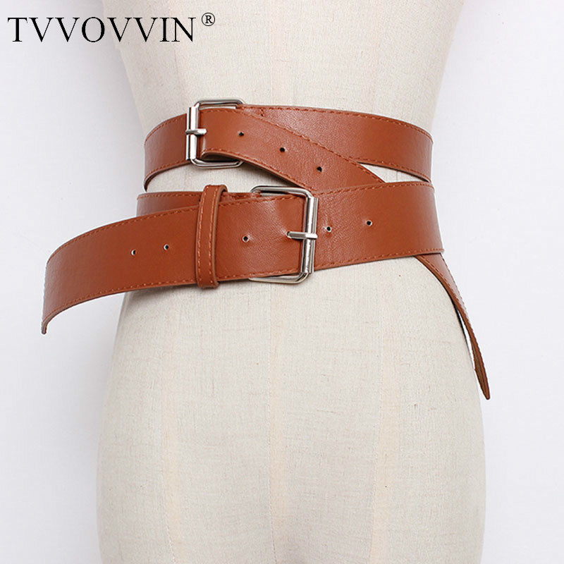 2020 New Autumn Winter Solid Color PU Leather Double Pin Buckle Irregular Long Belt Women Fashion Tide All-match Q480