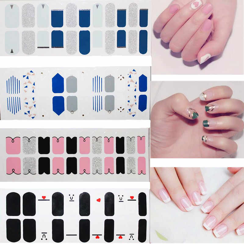 22tips/sheet Korea Fashion Color Nail Sticker French Full Nail Wraps Nail Polish Sticker Japanese Nail Art Predesigned drop Ship