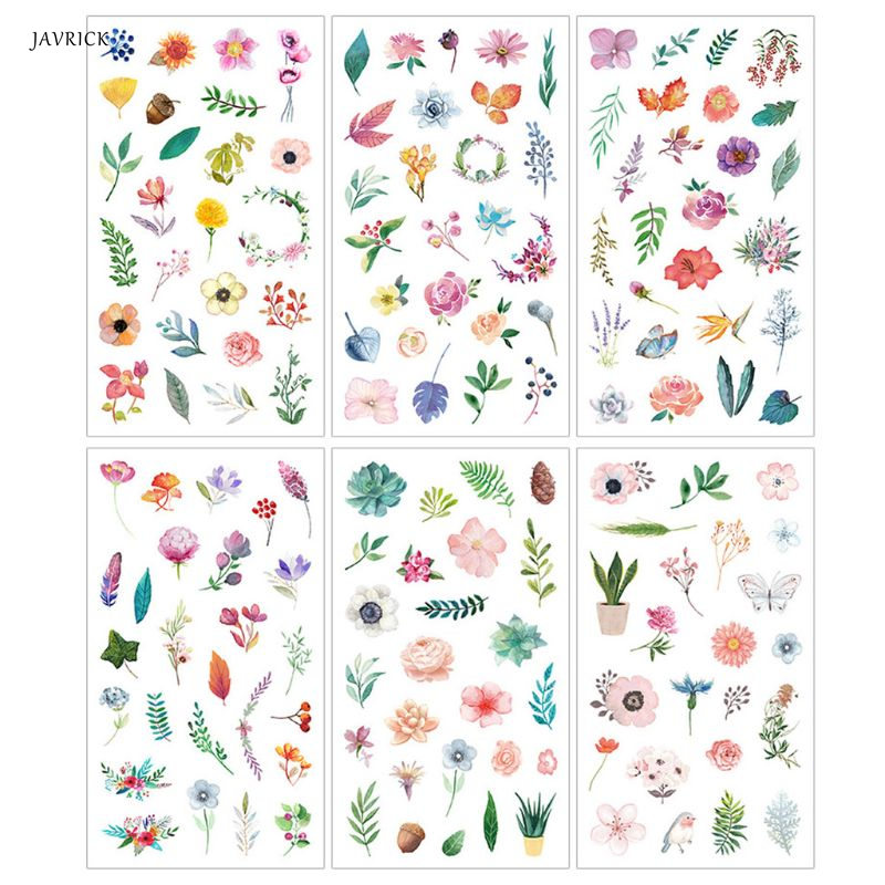 JAVRICK 6Pcs Flower Leaves Resin Sticker Epoxy Resin Mold Frame Fillers Material Jewelry Accessories For DIY Making Tool