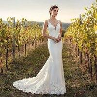 Eightale Boho Wedding Dress Mermaid 2019 Appliques Lace Chiffon Buttons V Neck Custom Made Bohemian Wedding Gowns Bride Dresses