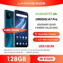 UMIDIGI A7 Pro 6,3 дюймFHD + безрамочный экран полный Экран Quad Камера Andriod 10 4G + 128 ГБ Встроенная память LPDDR4X Octa Core глобальная версия мобильного телефона 4150 ...