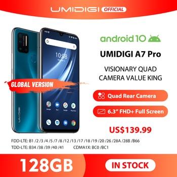 Перейти на Алиэкспресс и купить UMIDIGI A7 Pro 6,3 дюймFHD + безрамочный экран полный Экран Quad Камера Andriod 10 4G + 128 ГБ Встроенная память LPDDR4X Octa Core глобальная версия мобильного телефона 4150 ...