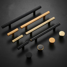 Современный простой американский шкаф дверная ручка шкаф золото медь матовый черный ящик для шкафа с одним отверстием ручка мебель