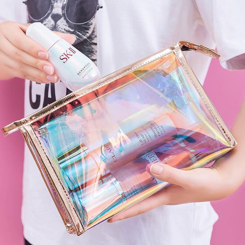 Transparent  2020 New Make Up Bag Lady Female Summer TPU  Mini Jelly bag Cosmetic Bag Storage Bag  Fashion Laser Women Bag