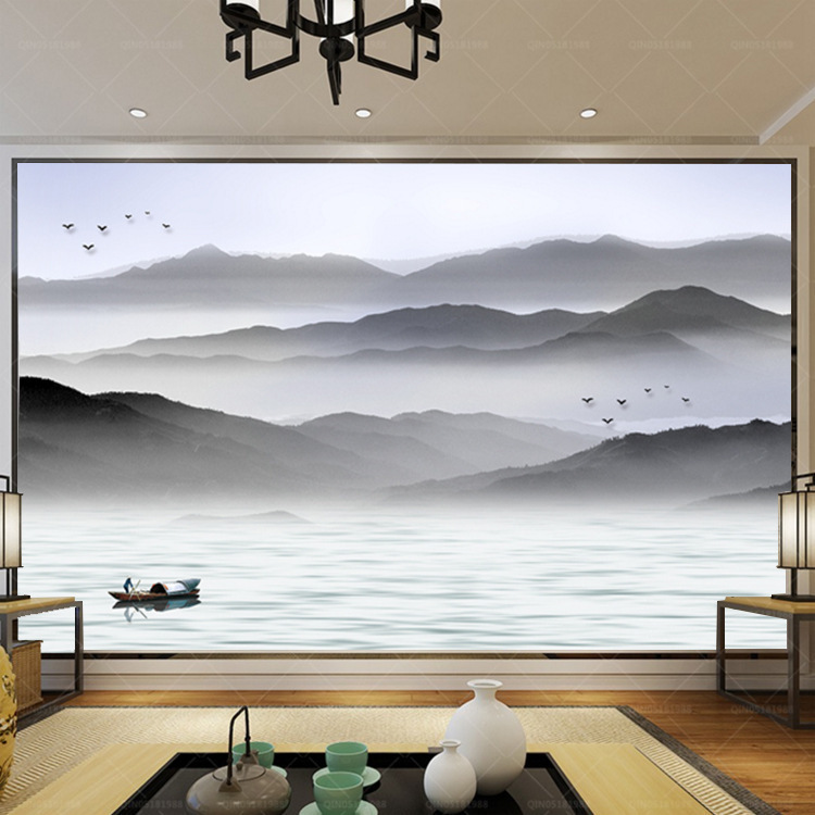 TV Backdrop Wallpaper Modern Chinese Style Freehand Ink Landscape Home Improvement Living Room Bedroom Library Mural Wall