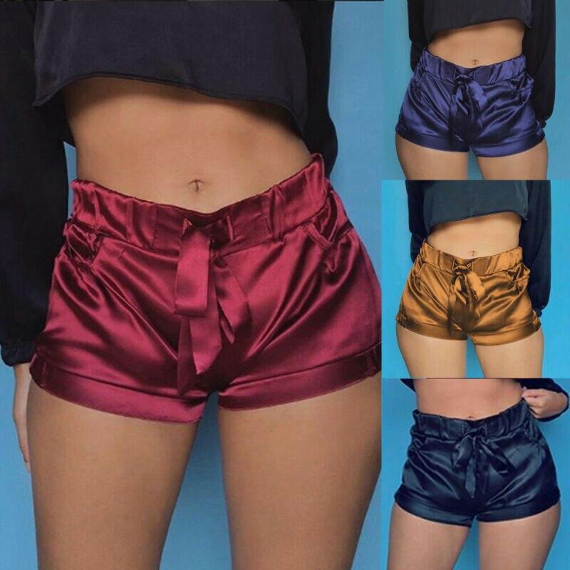 Silk Satin Shorts Women Sexy High Waist Bodycon Flannel Short Pants Pantalones Mujer Fitness Sleep Wear
