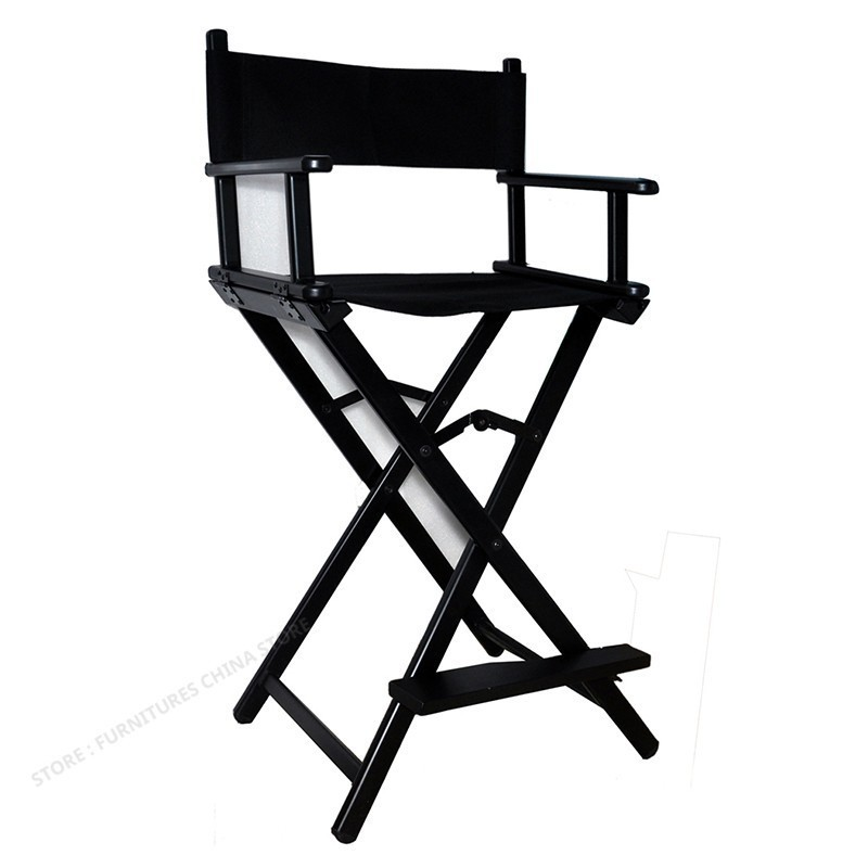 Metal Fold Portable Black Makeup Chair Photographic Studio The Crew Director Chair Aluminium Alloy Professional Makeup Chair