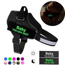 Colete brilhante personalizado do chicote de fios do animal de estimação do chicote de fios do cão reflexivo para o cão grande pequeno com fontes de caminhada personalizadas do cão do remendo