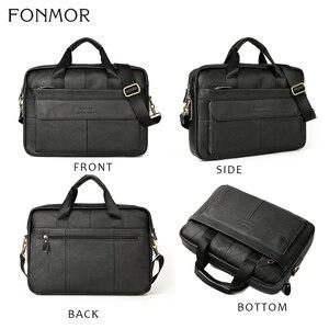 Image 4 - Портфель Fonmor мужской из натуральной кожи, сумка мессенджер через плечо для работы с компьютером, сумка тоут для ноутбука
